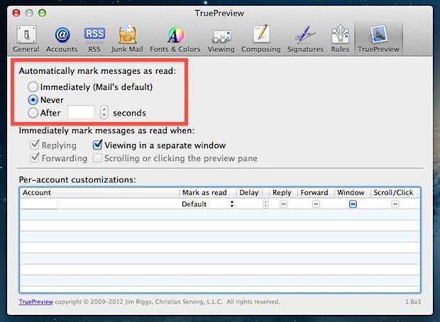 Почтовые приложения Отметить как прочитанное поведение
