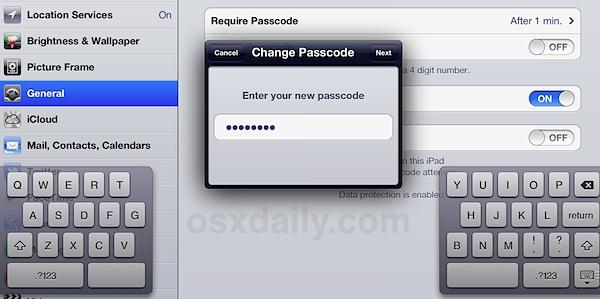 Установите безопасный пароль в iOS