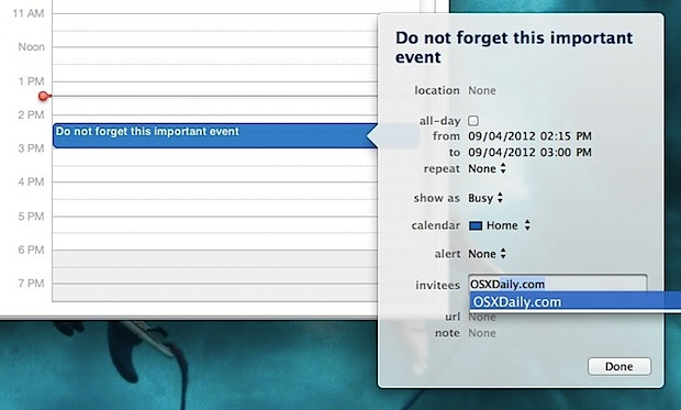 Invite people to events in Calendar from Mac OS X