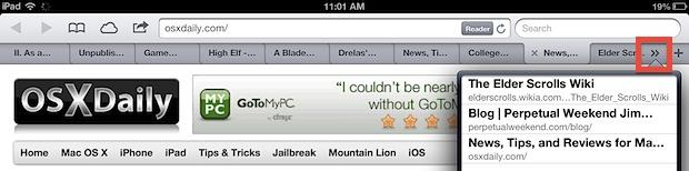 Доступ к другим вкладкам в Safari для iPad
