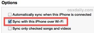 Синхронизация Wi-Fi, включенная в iTunes, выглядит так