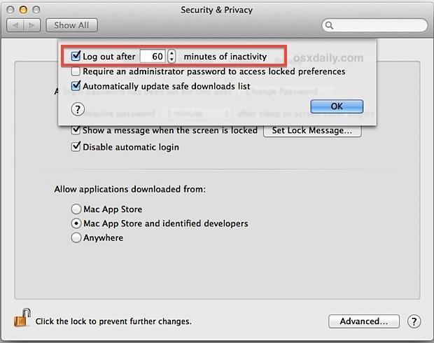 Включить автоматический выход из системы в Mac OS X