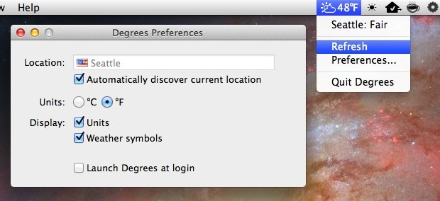Degrees menu bar item shows the weather