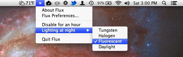 Flux menu bar item
