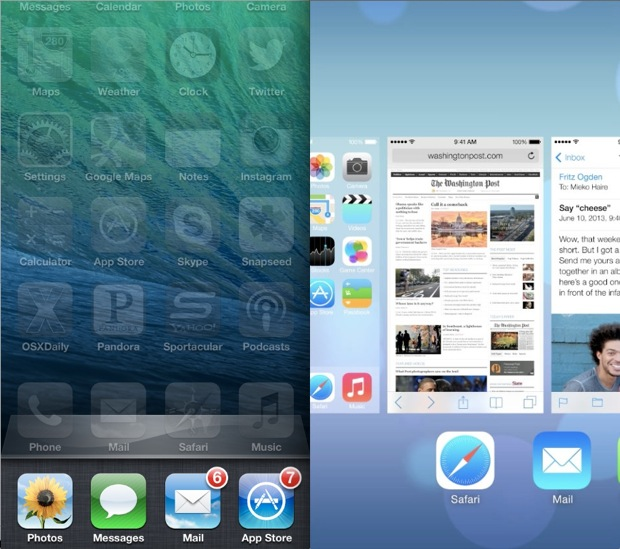 Multitasking iOS 6 vs iOS 7