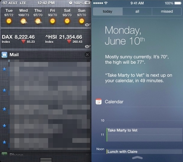 Notifications iOS 6 vs iOS 7