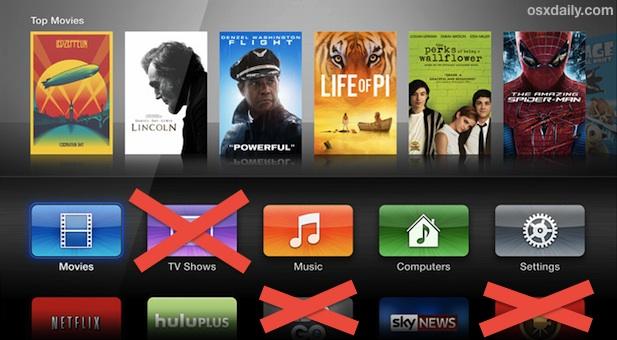 Скрыть значки приложений на Apple TV