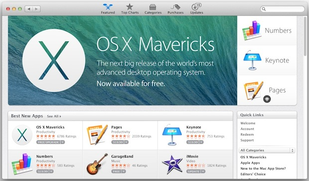 Download Mavericks from the Mac App Store