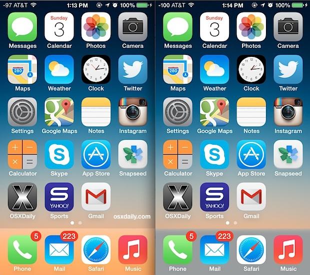 Цвет док-станции изменился с iOS 7, показывая разницу