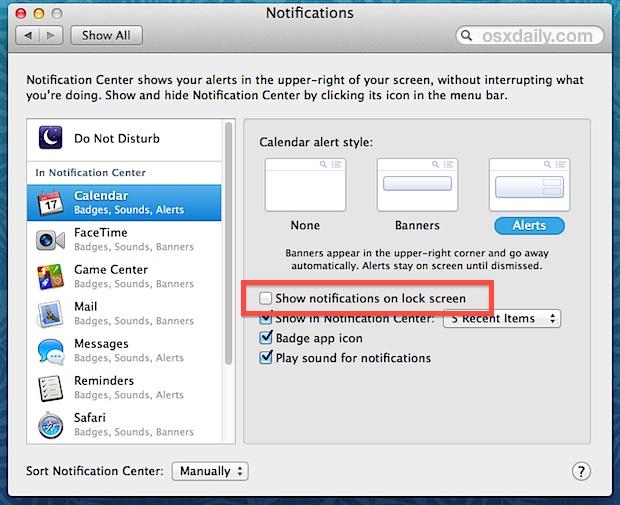 Показывать уведомления на экране блокировки в Mac OS X