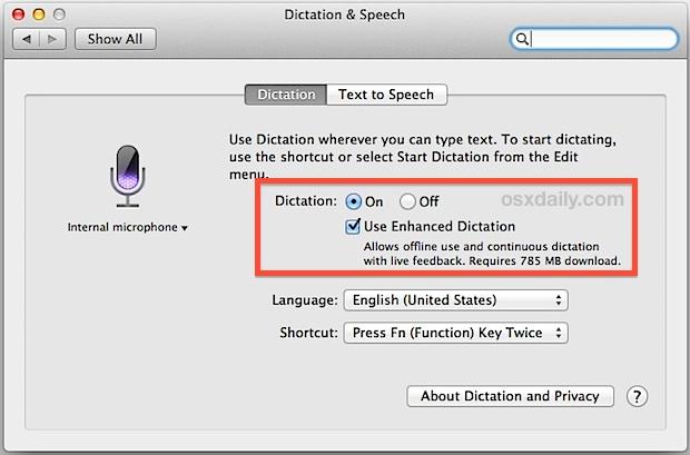 Включите расширенную диктовку для офлайн-поддержки