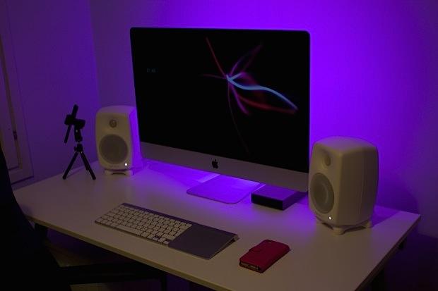 red desk chair ikea club slipcovers mac setups: vloggers minimalist imac with multicolor led backlighting