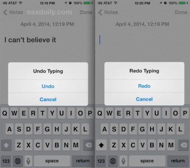 Кнопки встряхивания для отмены и и и для повторного выполнения на iPhone можно отключить, если вы не хотите использовать функцию встряхивания.