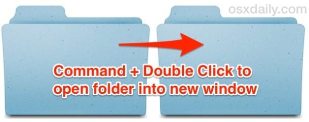 Command + двойной щелчок, чтобы открыть папку в новом окне