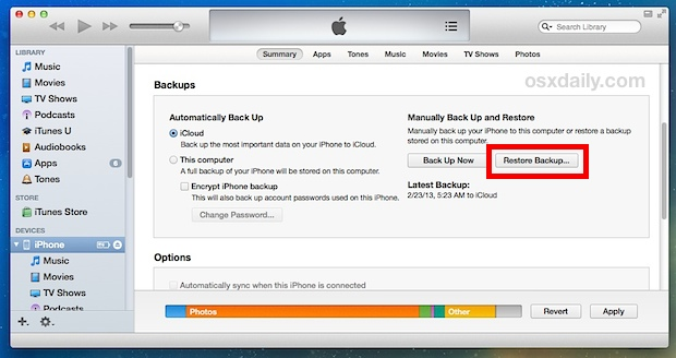 how to delete photos from my iphone using itunes