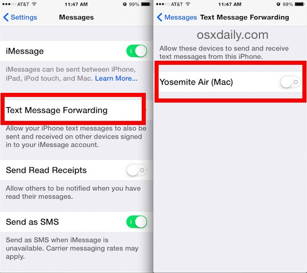 Iphone Message Text Forwarding