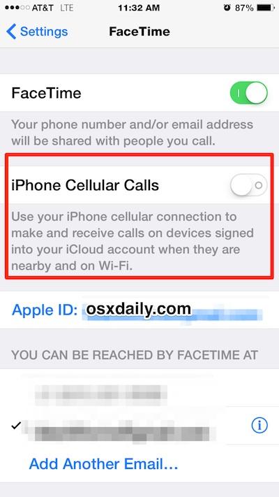 Отключите одновременный звонок разных iPhone, отключив функцию сотовых вызовов FaceTime iPhone