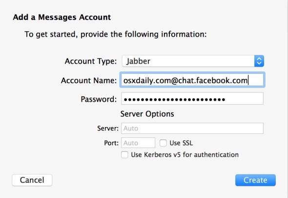 Добавить чат Facebook для поддержки мессенджера Facebook в приложении Mac OS X Messages
