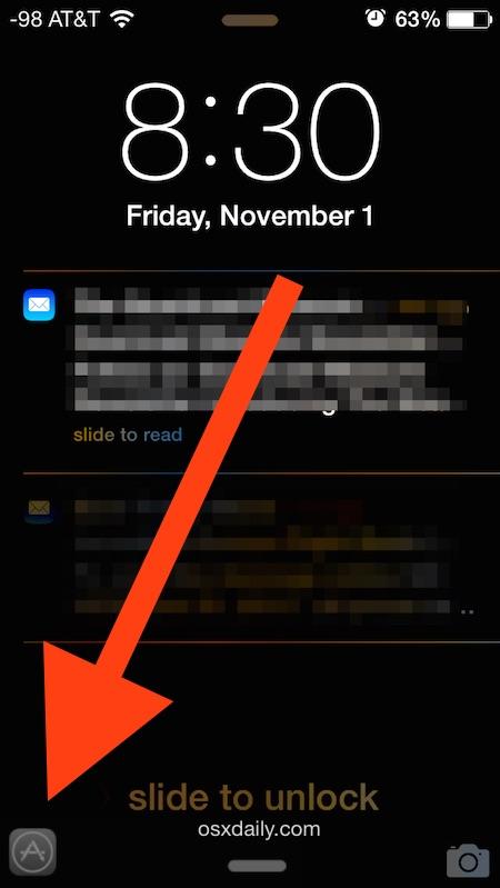 Рекомендуемое приложение на экране блокировки iPhone