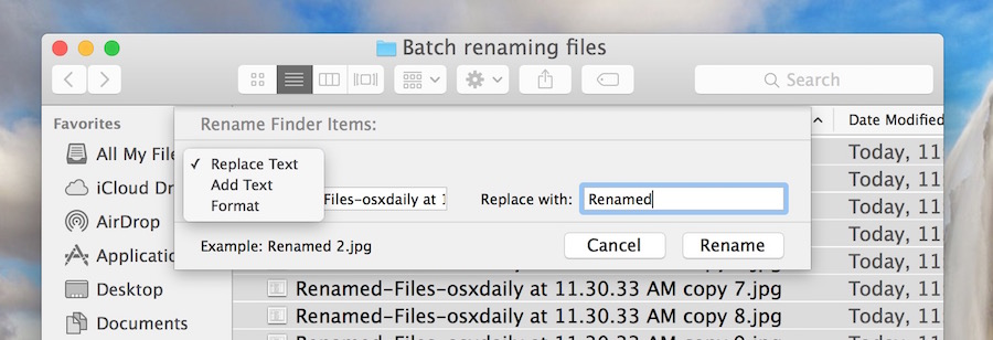Other batch renaming file modifiers in Mac OS X