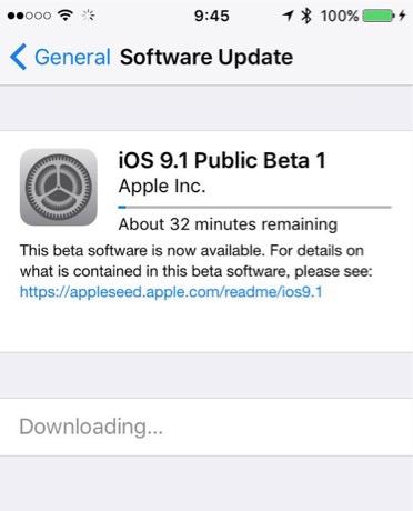 Скачивание iOS 9.1 beta 1