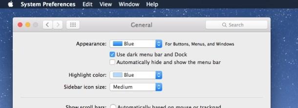 Включение темного режима в Mac OS X