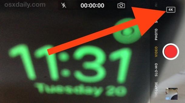 Запись видео 4K с помощью камеры iPhone, обозначенной значком 4k