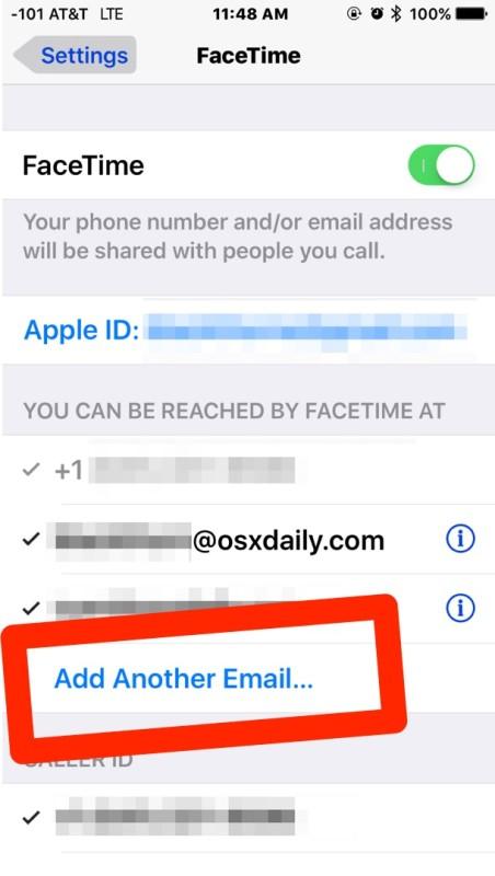 Добавьте еще один адрес электронной почты в Facetime в iOS