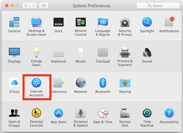 Choose Internet Accounts in System preferences