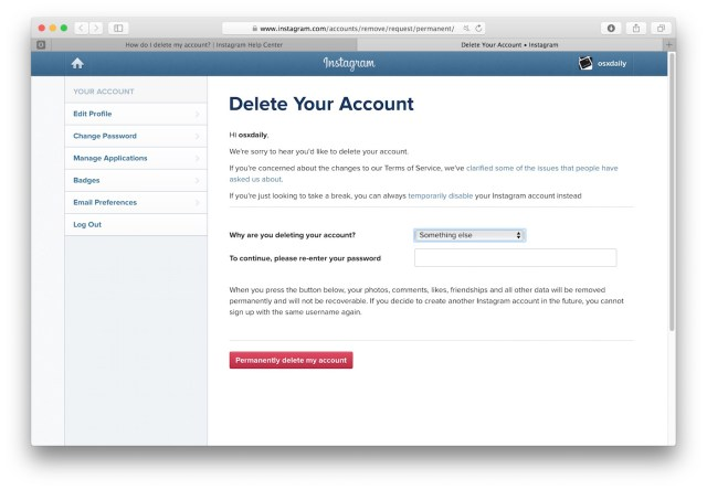 How to Delete an Instagram Account Permanently  OSXDaily