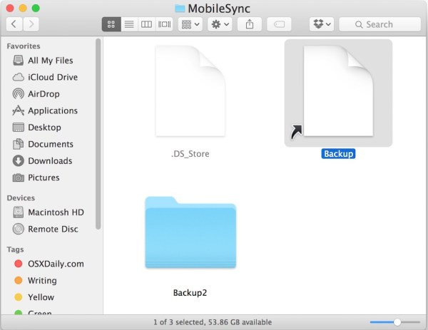 Verify the iphone backup symbolic link exists to external drive