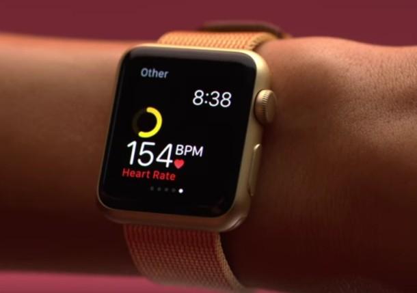 Реклама пульсометра Apple Watch на запястье