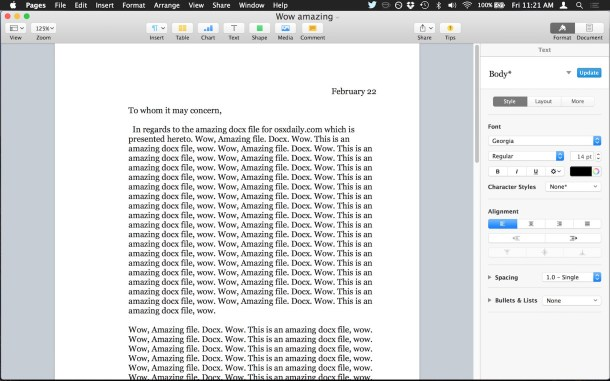 Opening a docx file in Pages for Mac OS X