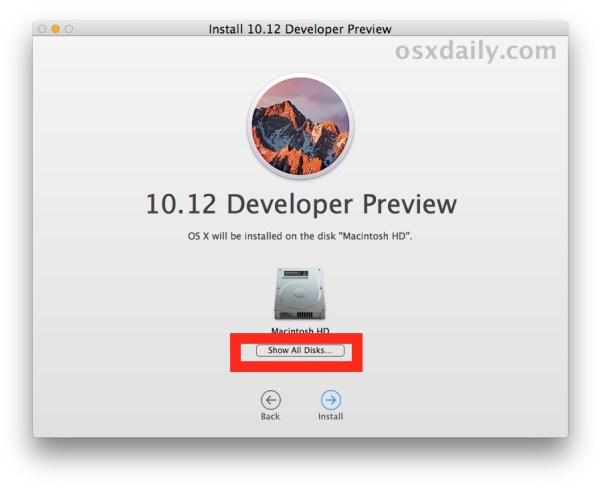 Choose show all disks in MacOS Sierra installer