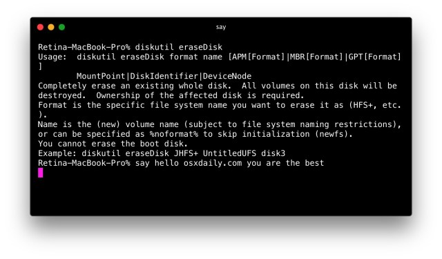How to Erase a Disk from Command Line in Mac OS X  OSXDaily