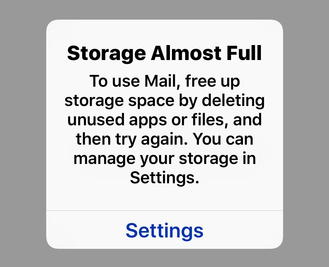 Warning: iOS Mail Blocks Access on iPhone with Full Storage