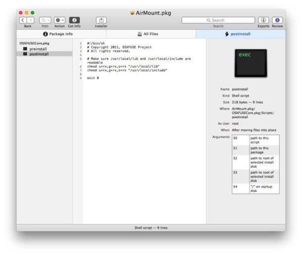 Открытие пакета pkg file Mac посмотрите, какие скрипты будут запускаться
