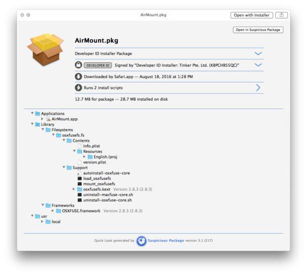 Быстрый просмотр подозрительного пакета для открытия файла PKG