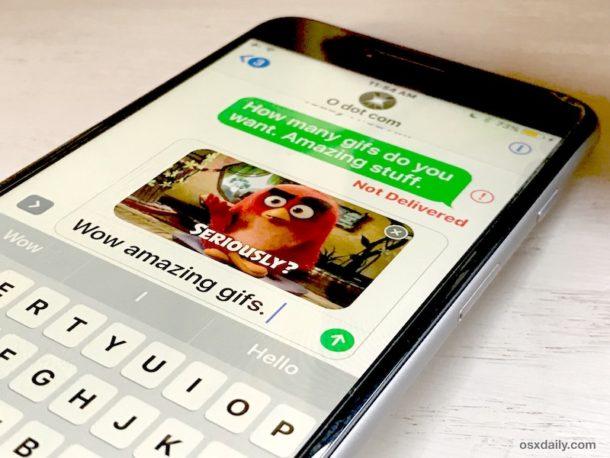Поиск и отправка GIF-файлов в сообщениях для iOS