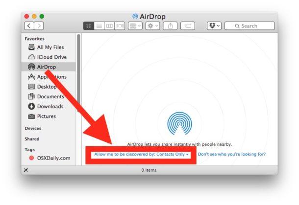На Mac откройте Airdrop для приема файлов