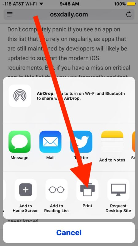 Save as PDF from iPhone or iPad with a gesture from the Print screen