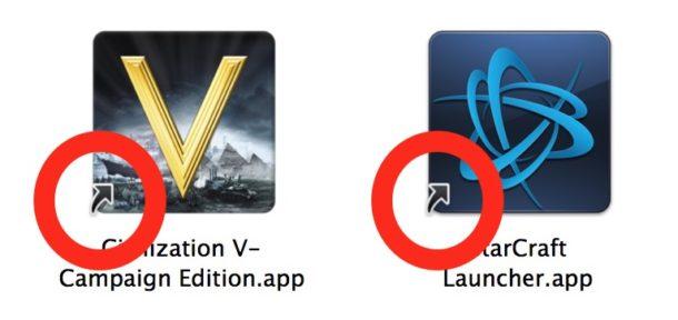 the alias indicator on Mac icons