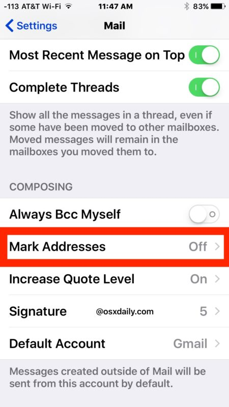 Mark addresses in Mail for iOS