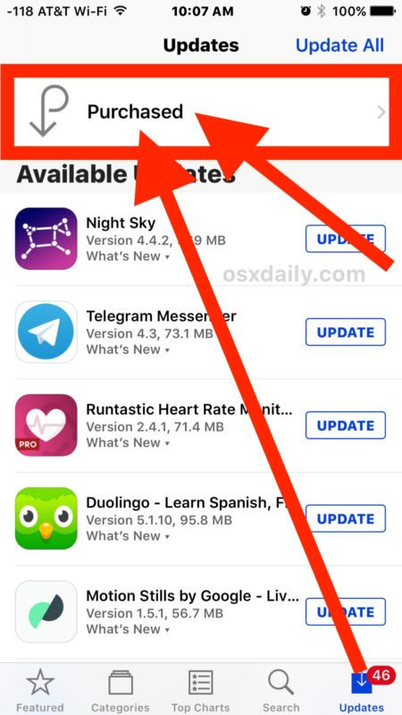 Access Purchased apps in iOS App Store for iPhone