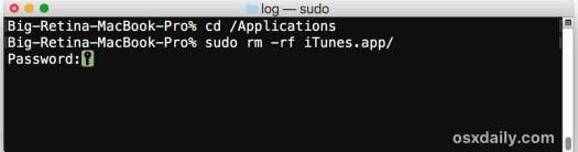 Delete iTunes on a Mac to downgrade