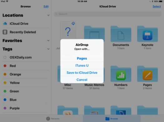 Receiving AirDrop files from Mac to iPad and iPhone as files