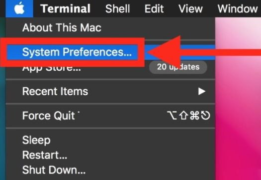 System Preferences from Apple menu