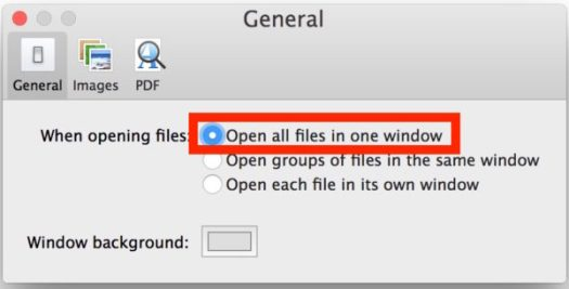 Open all Preview windows into a single window on Mac