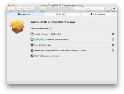 MacOS High Sierra 10.13.1 Supplemental security update 2017-001