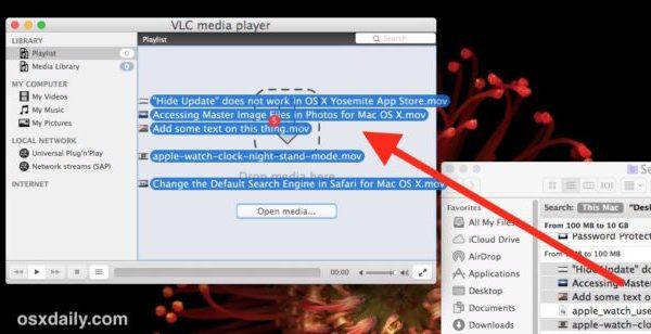 Перетащите видео в VLC